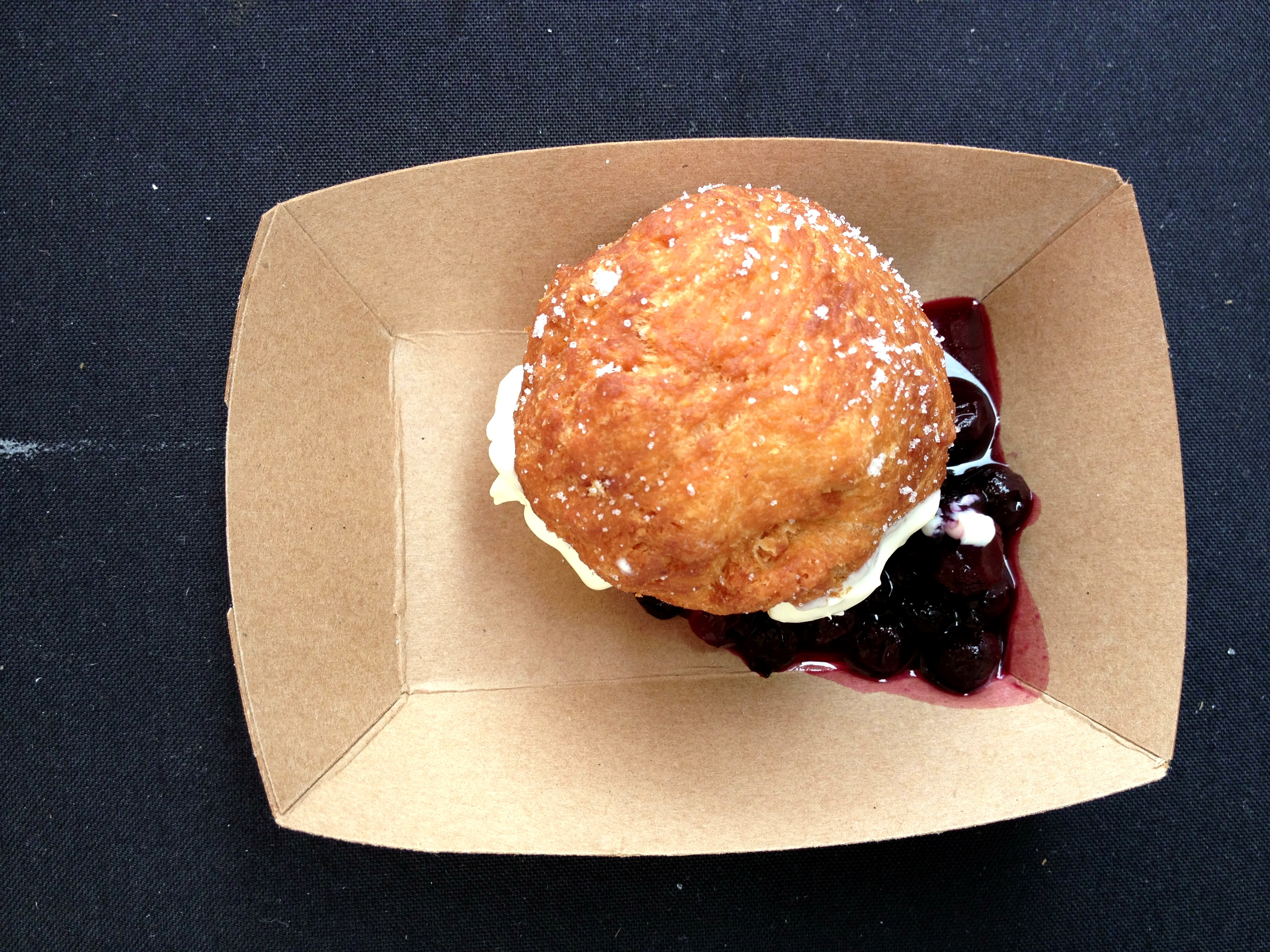 A lovely, sweet drop biscuit fried and filled with cream