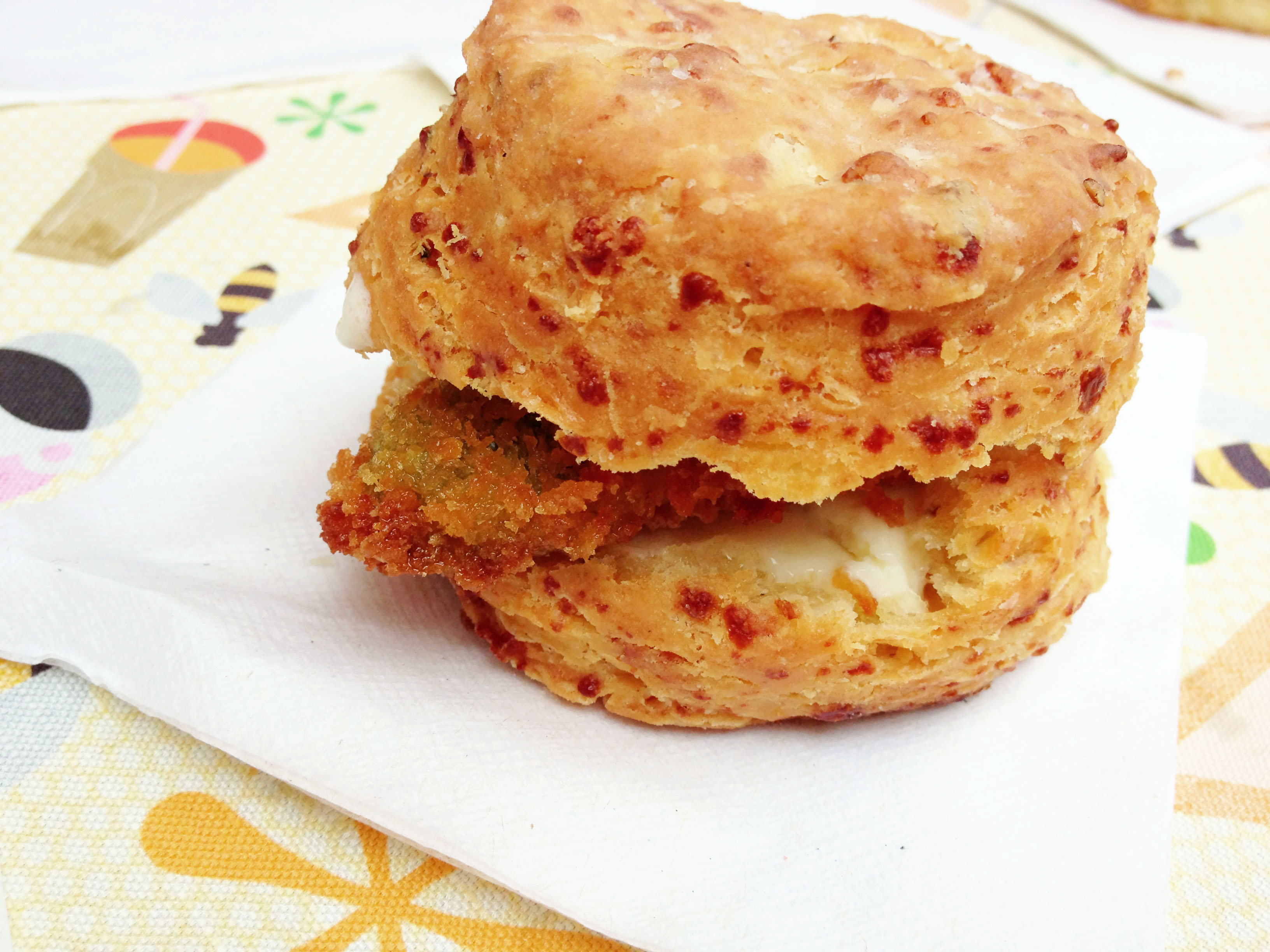 A mind-blowing combination of spicy pimento cheese dough, buttered and sandwiched with fried jalepeno